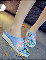 Women's Shoes Canvas Spring Summer Comfort Slippers & Flip-Flops Flat Heel For Casual Beige Blue