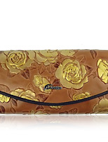 Women Checkbook Wallet Cowhide All Seasons Daily Casual Rectangle Magnetic Yellow Purple Dark Blue