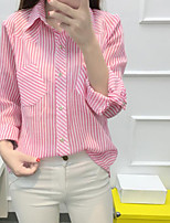 Women's Casual Simple Spring Shirt,Striped Shirt Collar Long Sleeve Polyester