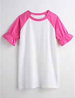 Girl's Solid Dress,Cotton Summer Short Sleeve