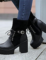 Women's Shoes PU Fall Winter Comfort Heels For Casual Black