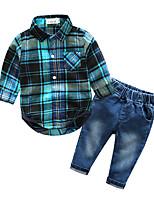 Boys' Plaid Sets,Cotton Spring Fall Long Sleeve Clothing Set
