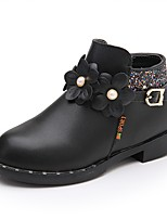 Girls' Flats Comfort Fashion Boots Leatherette Fall Winter Wedding Casual Outdoor Party & Evening Dress Applique Imitation Pearl Zipper