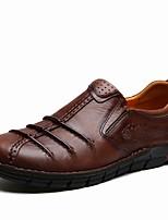 Для мужчин Мокасины и Свитер Удобная обувь Мокасины Светодиодные подошвы Обувь для дайвинга Осень Зима Натуральная кожа Кожа Полиуретан
