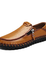 Men's Loafers & Slip-Ons Moccasin Summer Fall Cowhide Casual Outdoor Zipper Flat Heel Brown Yellow Black Flat