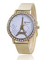 Women's Dress Watch Fashion Watch Simulated Diamond Watch Japanese Quartz Alloy Band Eiffel Tower Charm Elegant Casual Gold