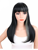Straight Medium Length Natural Synthetic Wig For White Black Women Black Mix White Color High Temperature Heat Resistant Fiber Hair Wig with Bang