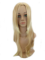 Woman Middle Part Golden Blonde Mixed with Highlight Long Straight Hair Wig High Temperature Synthetic Fiber