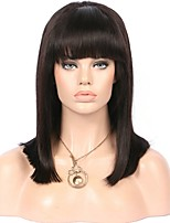 Middle Long Silky Straight Lace Front Wig With Bangs 8-14 Inch 130% Density Peruvian Virgin Human Hair Glueless 13x6 Deep Parting Lace Front Wig