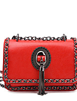 Women Bags All Seasons PU Shoulder Bag with Chain Tassel for Wedding Event/Party Casual Sports Formal Outdoor Office & Career Black Gray