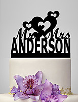 Personalized Acrylic Heart Pattern Wedding Cake Topper