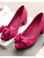 Women's Shoes PU Spring Comfort Heels For Casual Black Purple Red Blushing Pink