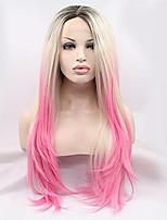 Парики из искусственных волос Лента спереди Длиный Прямые Розовый Природные волосы Парики для косплей Карнавальные парики