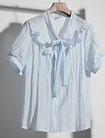 Women's Casual/Daily Simple Summer T-shirt,Striped Shirt Collar Short Sleeve Others