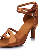 Women's Latin Satin Sandals Heels Professional Buckle Stiletto Heel Dark Brown 2