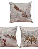 Set of 3 Santa Claus Elk Linen Cushion Cover Home Office Sofa Square Pillow Case Decorative Cushion Covers Pillowcases Without Insert(18*18Inch)