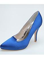 Women's Wedding Shoes Formal Shoes Satin Spring Summer Wedding Party & Evening Stiletto Heel Ivory Blue Black 4in-4 3/4in