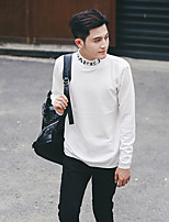 Men's Casual/Daily Work Simple Short Pullover,Solid Turtleneck Long Sleeves Polyester Spandex Others Spring Fall Thin Stretchy