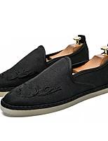 Для мужчин Мокасины и Свитер Удобная обувь Полиуретан Весна Осень Повседневные На плоской подошве Черный Серый Синий На плоской подошве