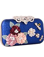 Damen Taschen Ganzjährig Kunstleder Abendtasche mit Strass Satin Blume Perlen Verzierung Perle Blumig Blume Blütenblätter Bestickt Muster