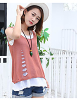 Women's Casual/Daily Simple Summer Tank Top,Solid Round Neck Sleeveless Others