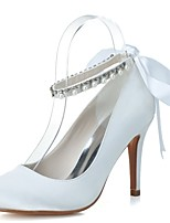 Women's Wedding Shoes Formal Shoes Satin Spring Summer Wedding Party & Evening Pearl Ribbon Tie Stiletto Heel Blue Black White 3in-3 3/4in