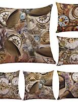 6 штук Лён Хлопок/Лён Наволочка Наволочки,Текстура Традиционный/классический Поддерживать Пляжный стиль