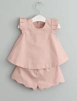 Girls' Solid Sets,Rayon Summer Sleeveless Clothing Set