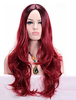 Middle Long  Wavy Synthetic Omber Wine Red Two Tone Color Synthetic Women Cosplay Wigs
