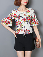 Women's Going out Casual/Daily Simple Blouse,Floral Print Round Neck Half Sleeves Polyester Medium