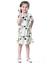 Girl's Cotton Fashion And Lovely Temperamental Gauze Kengpeng Harragu Cartoon Strongman Pattern Princess Dress