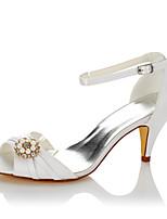 Mujer Sandalias Pump Básico Satén Verano Otoño Boda Vestido Fiesta y Noche Perla de Imitación Tacón Cono Blanco 5 - 7 cms