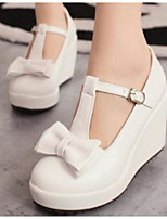 Women's Shoes PU Spring Comfort Heels For Casual White Black Beige Blushing Pink