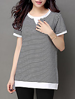 Women's Casual/Daily Simple Summer T-shirt,Striped Round Neck Short Sleeve Cotton Others