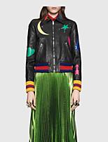 Для женщин Спорт На выход На каждый день Осень Зима Кожаные куртки Лацкан с острым углом,Уличный стиль Контрастных цветов ОбычнаяДлинный