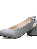 Women's Heels Comfort Light Soles Summer Fall Leatherette Casual Dress Office & Career Bowknot Gore Chunky Heel Black Gray Ruby Almond