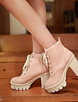 Women's Shoes PU Fall Comfort Heels Chunky Heel Round Toe With For Casual Black Beige Blushing Pink