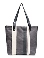 Women Tote Canvas All Seasons Wedding Event/Party Casual Formal Office & Career Barrel Zipper White Black Gray