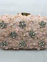 Women Bags All Seasons Metal Evening Bag with Rhinestone for Event/Party White Black Almond Blushing Pink