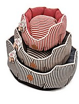 Dog Bed Pet Baskets Stripe Warm Soft Blue Ruby Brown
