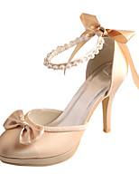 Femme Chaussures de mariage Escarpin Basique Satin Elastique Printemps Eté Mariage Habillé Perle Talon AiguilleArgent Rouge Bleu Rose