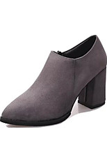 Women's Boots Comfort Fashion Boots Winter Real Leather PU Casual Black Gray Under 1in