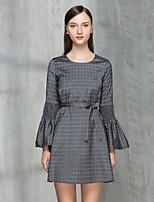 Damen Hülle Kleid-Ausgehen Niedlich Verziert Rundhalsausschnitt Übers Knie Langarm Polyester Sommer Mittlere Hüfthöhe Mikro-elastisch