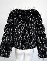 Для женщин На каждый день Осень Зима Пальто с мехом V-образный вырез,Простой Однотонный Обычная Длинный рукав,Лисий Мех Мех енота