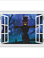 Wall Stickers Wall Decas Style Halloween Frighten Castle Scarecrow PVC Wall Stickers