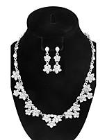 Women's Drop Earrings Pendant Necklaces AAA Cubic Zirconia Fashion Vintage Elegant Rhinestone Flower Shape Jewelry Set ForWedding Engagement Party
