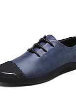 Men's Loafers & Slip-Ons Comfort Spring Fall Cowhide Casual Office & Career Party & Evening Split Joint Flat Heel Blue Ruby Black Flat