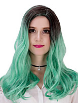 Cheap Natural Fashion Realistic Long Wavy Wig Ombre Mint Green Color Glueless Synthetic Wig for Women