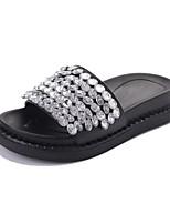 Women's Slippers & Flip-Flops Light Soles PU Summer Casual Dress Sequin Flat Heel Black Flat