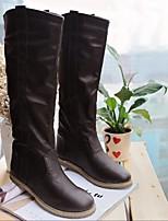 Для женщин Обувь Полиуретан Зима Модная обувь Ботинки На плоской подошве Сапоги до колена Назначение Повседневные Белый Черный Коричневый